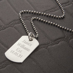 Mens Personalised Sterling Silver Dog Tag Necklace