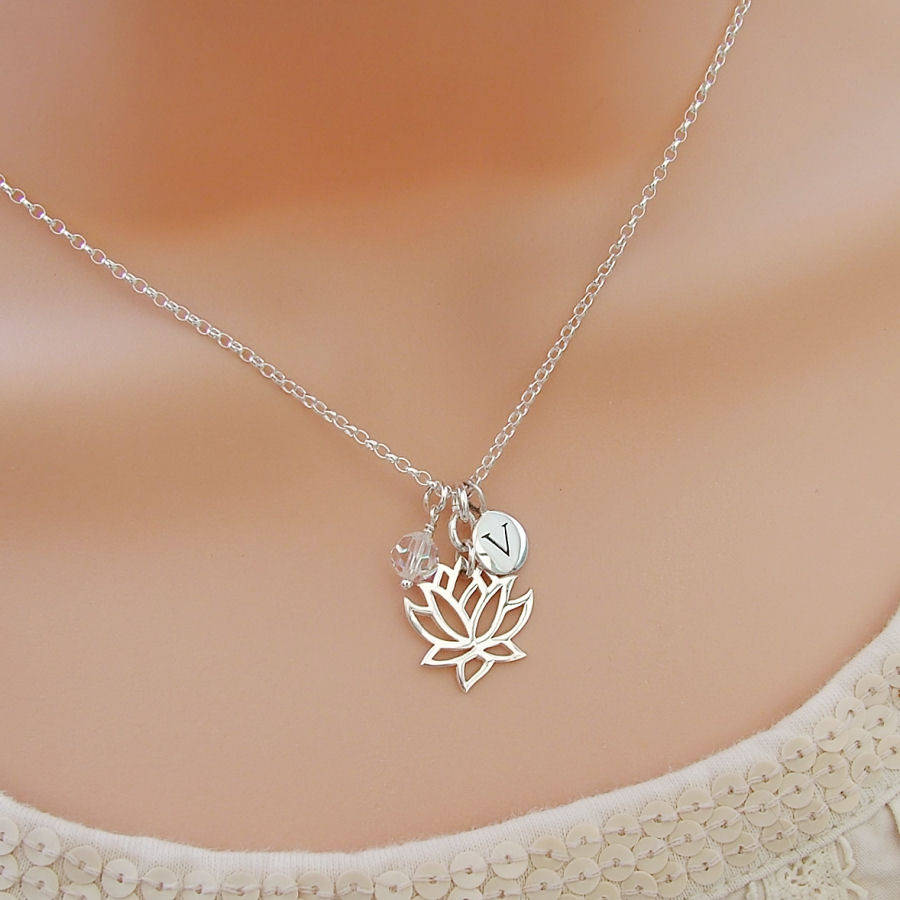 Lotus flower personalised necklace by wished for lotus flower personalised necklace izmirmasajfo
