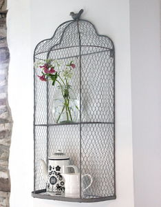 Perching Bird Metal Wall Shelves - laundry room