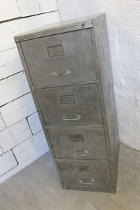 Vintage 1970s Stripped Steel Four Drawer Filing Cabinet