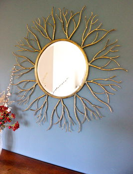 Large Golden Twig Mirror