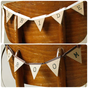 Bride And Groom Wedding Mini Bunting - room decorations