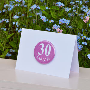 Personalised '30th' Birthday Card