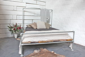 Sarah Galvanised Steel And Reclaimed Scaffolding Bed - beds
