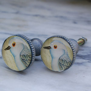 Set Of Two Bird Cupboard Knobs Blue
