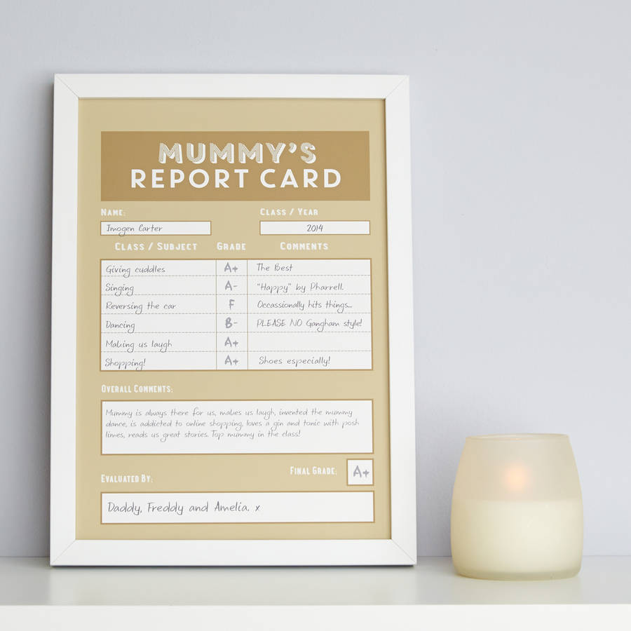 Personalised Mummy / Mum Report Card