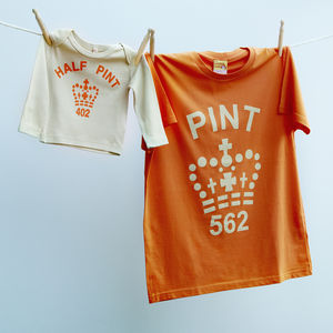 Matching Pint Half Pint T Shirt Set Dad Daughter / Son - children's dad & me sets