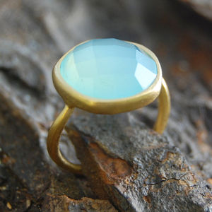 Aqua Chalcedony Gold Semi Precious Ring - women's jewellery