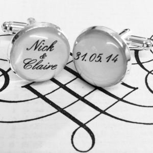 Personalised Silver Plated Bride And Groom Cufflinks