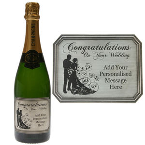 Congratulations On Your Wedding Pewter Champagne Label