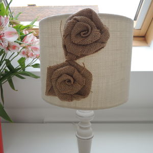 Handmade Lampshade In White Hessian Fabric With Flowers