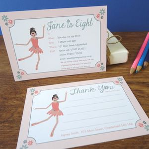 Ballerina Party Invitation Or Thank You Cards
