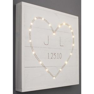 Personalised Heart And Initials Picture With Lights
