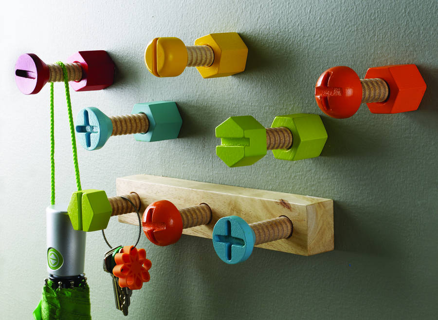 Bright wooden screw style hook by thelittleboysroom for Kids room hooks