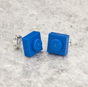 Building Brick Mini Stud Earrings Blue - women's sale