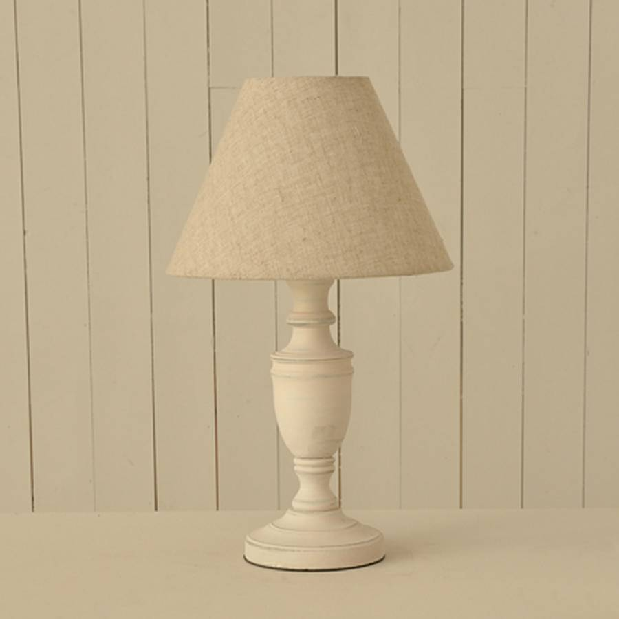 White wooden bedside table lamps pair with linen shade by for Lamp wooden