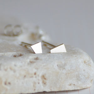 Sterling Silver Tiny Quadrilateral Earring Studs - geometric shapes