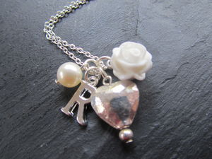 Personlised Silver Heart And Initial Necklace