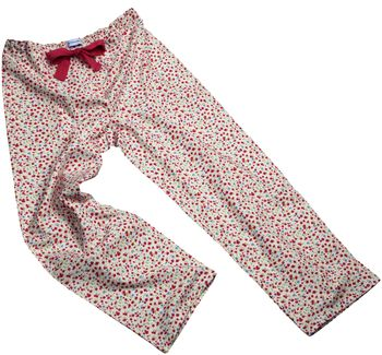 Cherry Flower Print Pyjama Bottoms For Teens And Adults
