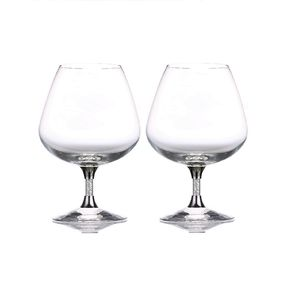 Pair Of Diamante Filled Stem Brandy Glasses