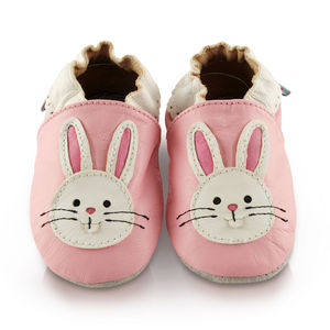 Pink Bunny Soft Leather Baby Shoes