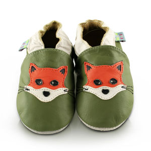 Fox Green Soft Leather Baby Shoes - shoes & footwear