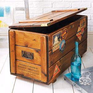 Personalised Storage Trunk Vintage Travel Blanket Chest