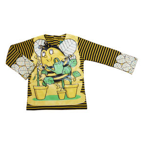 Child's Wipe Clean Long Sleeve Striped Bee Bib Top - more
