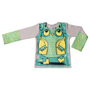 Child's Wipe Clean Long Sleeve Striped Owl Bib Top