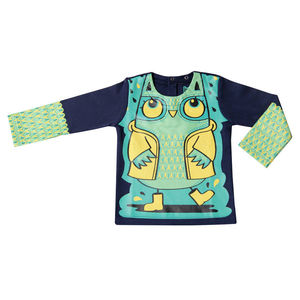 Child's Wipe Clean Long Sleeve Plain Owl Bib Top