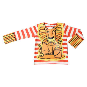 Child's Wipe Clean Long Sleeve Striped Lion Bib Top