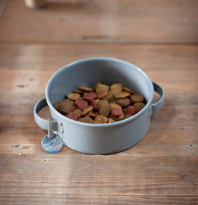 Round Pet Bowl With Tag In Flint Grey