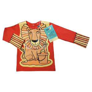 Child's Wipe Clean Long Sleeve Plain Lion Bib Top - baby care