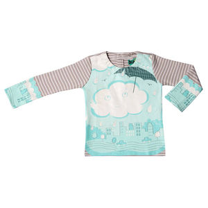 Wipe Clean Long Sleeve Striped Cloud Bib Top - t-shirts & tops