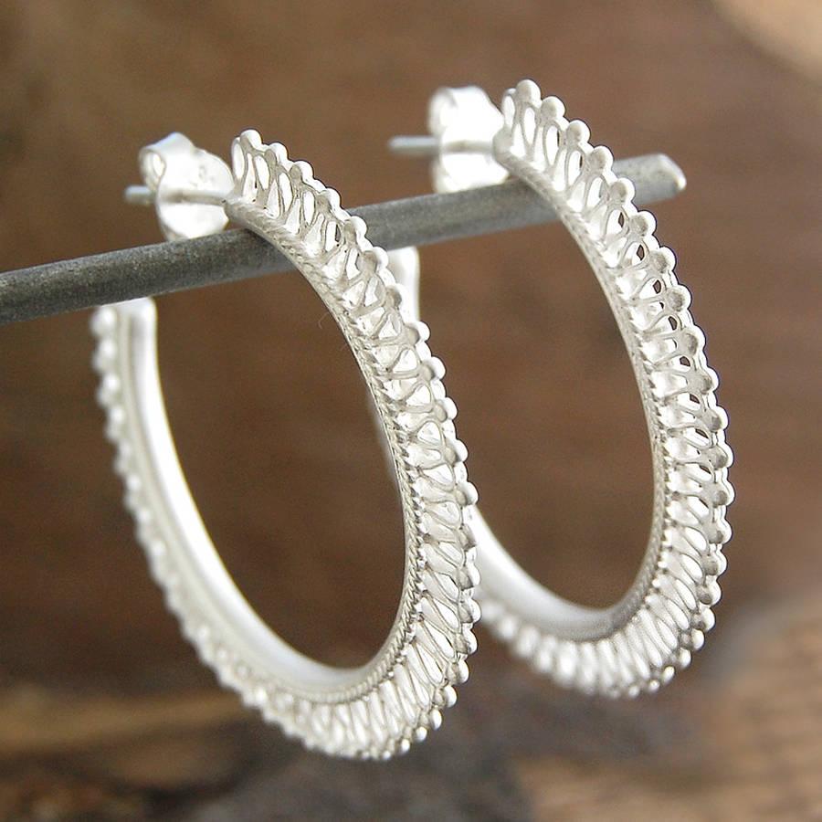 Filigree Sterling Silver Hoop Earrings