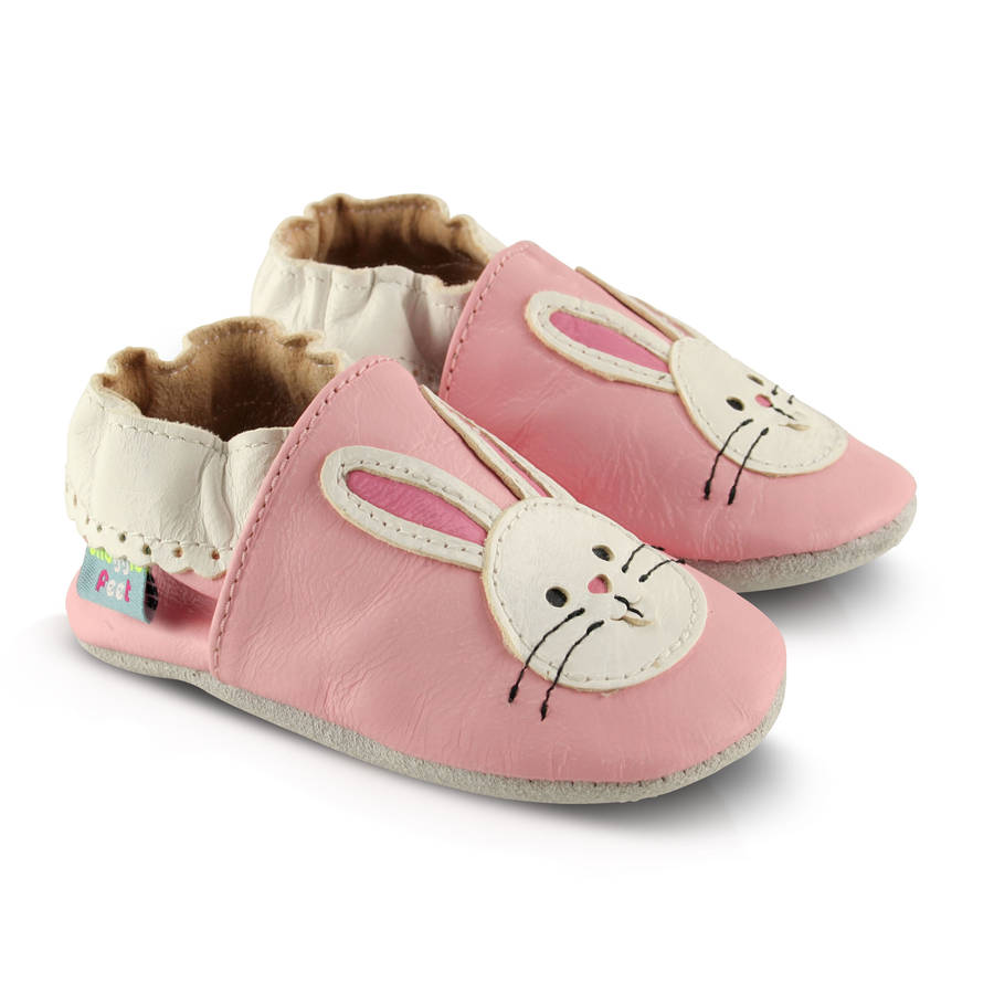 pink bunny soft leather baby shoes by snuggle feet ...