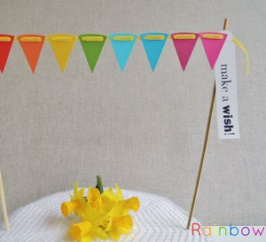 Cake Bunting With Greeting Label ~ Colour Options - cake decorations