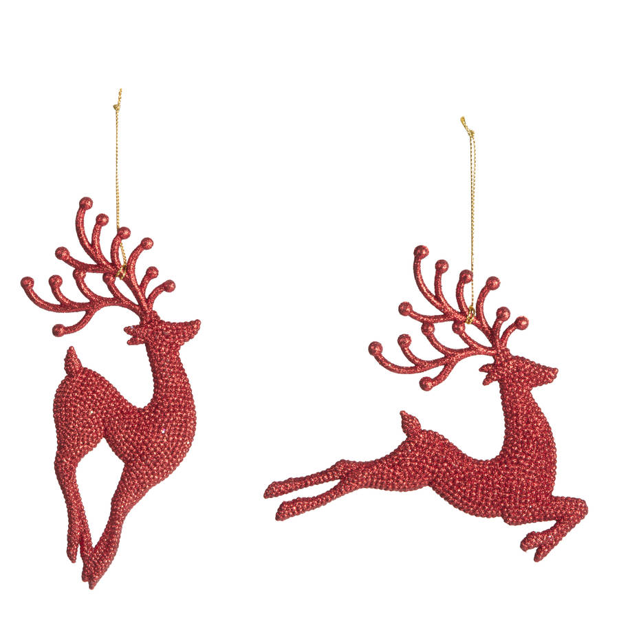 Red glitter reindeer christmas decorations by the for Christmas decorations