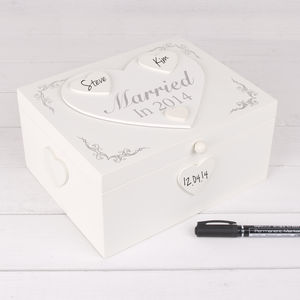 1st Wedding Anniversary Personalise Keepsake Box