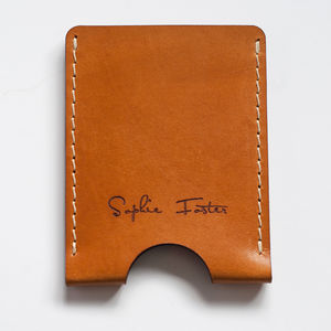 Personalised Vegetable Tanned Leather Card Holder - wallets & money clips