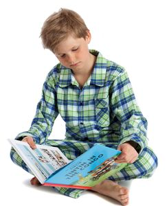 Green And Navy Check Pyjamas For Boys Age Two To Twelve - clothing
