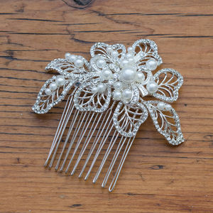Mia Crystal And Pearl Hair Comb - wedding fashion