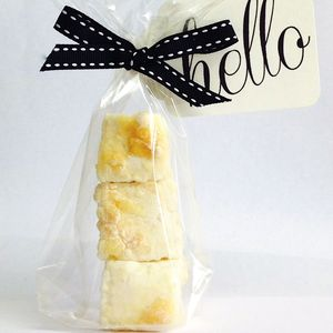 Personalised Lemon Meringue Marshmallow Favours - on trend: yellow & grey