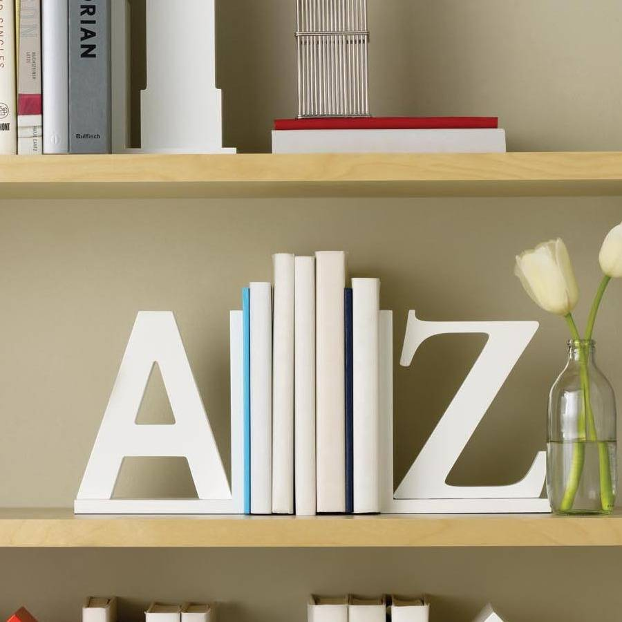 White A Z Book Ends By Letteroom