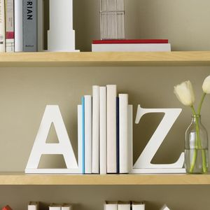 White A Z Book Ends