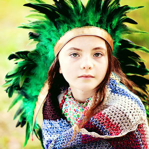 Feather Headdress Green - fancy dress