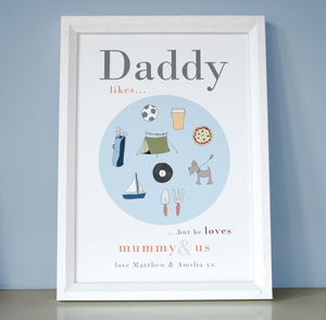 Personalised Daddy Or Grandpa 'Likes' Print - pictures & prints for children