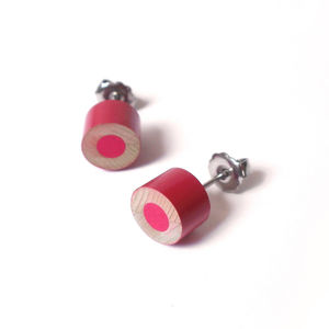 Colour Pencil Earring Studs In Rose Pink