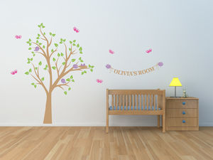 Personalised Bird's Nest Tree Wall Stickers - wall stickers
