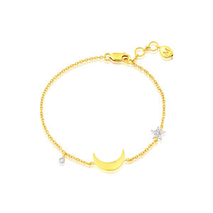 Diamond Star And Moon Charm Bracelet In Gold Vermeil
